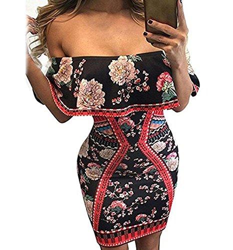 YeeATZ Dark Floral Print Ruffle Off Shoulder Dress(Size,M)