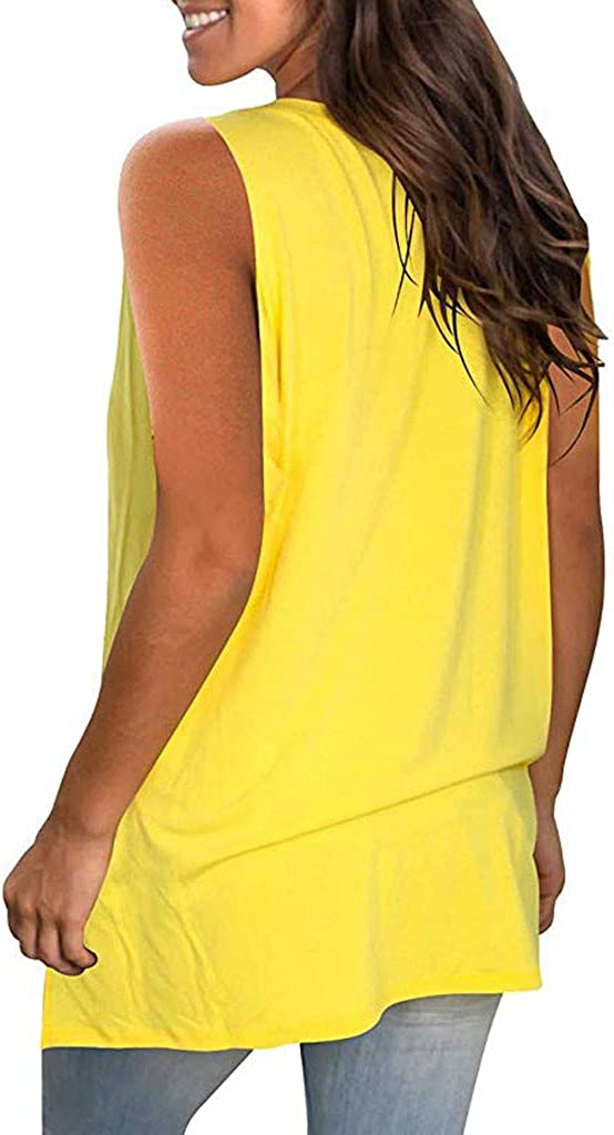 Sleeveless Tunic Tops for Women Casual Summer Beach Holiday Flowy Solid Color V Neck T Shirt Shirts Blouse Tees Tanks