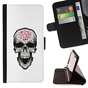 Momo Phone Case / Flip Funda de Cuero Case Cover - Pentagram Evil Goth Cráneo - LG G4