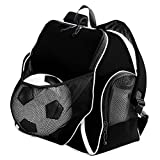 Augusta Sportswear Augusta Tri-Color Ball Backpack, Black/Black/White, One Size
