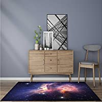 Thick Soft Plush Living Room Rug Small Planunder Ufo Attack Death Star ntastic Fictial Galaxy War Themed Stain Resistant Carpet W47 x L71 INCH