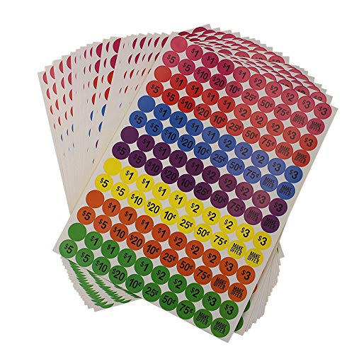 KisSealed 2800 Pieces Round Neon Colors Prepriced Garage Sales Stickers, Prices Labels Stickers, 3/4 Inches Diameter Sale Labels