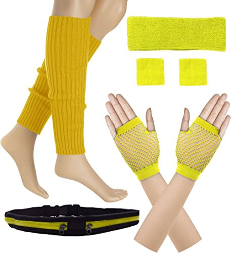 Women 80s Set Neon Knit Headband Wristbands Leg