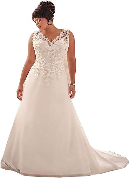 Amazon.com: WeddingDazzle - Vestido de novia largo con ...