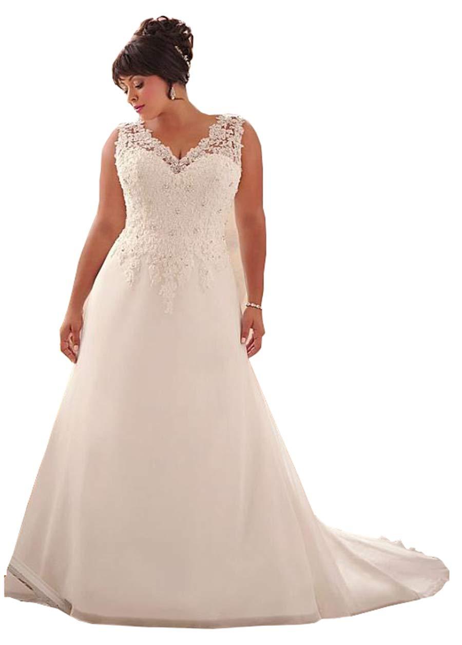 2e9f58eb19d WeddingDazzle Wedding Dress Applique with Beading Long Bridal Dress for  Women s26W Ivory