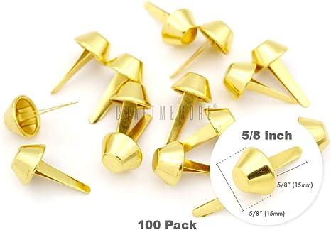 , Antique Brass CRAFTMEmore Purse Feet Handbag Flat Cone Nailheads Spike Prong Studs 8MM 10MM 12MM 100 PCS /≈5//8 15 mm