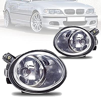 Fog Lights For BMW E46 M3 2001-2006 E39 M5 2000-2003 330I Sedan with ZHP Package 2003-2005 330CI Coupe & Convertible with ZHP Package 2004-2006 (Clear Real Glass Lens w/ 9006 12V 55W Bulbs): Automotive