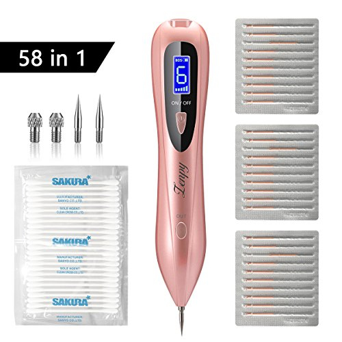 Zenpy Mole Removal Pen 58 in 1 Professional Removal Tool Kit 6 Strength Levels Beauty Pen for Body Facial Freckle Nevus Warts Age Spot Skin Tag Tattoo Remover with LCD Display (RoseGold) (RoseGold) (Kit Wart Remover)