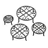 Red Carpet Studios Set of Four Round Black Iron Plant Stands, Scroll Pattern