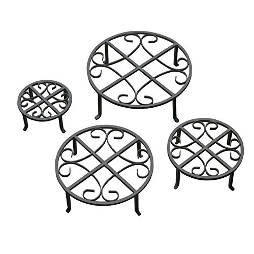Black Wrought Iron Stand - Red Carpet Studios Set of Four Round Black Iron Plant Stands, Scroll Pattern