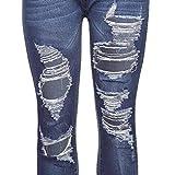 VEZAD Fashion Women Jeans Denim Hole Female High