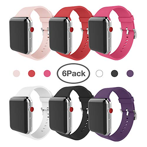 MITERV For Apple Watch Band 38mm 42mm Soft Silicone Replacement Band for Apple Watch Series 3 Series 2 Series 1 (42mm 6 bright colors, 42mm)