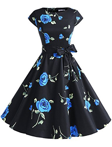 Dressystar DS1956 Women Vintage 1950s Retro Rockabilly Prom Dresses Cap-Sleeve XXXL Black Blue Flower