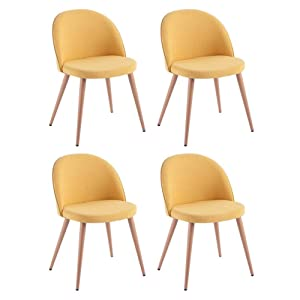 INSIDE Lot de 4 chaises Design scandinave Velvet Tissu Jaune