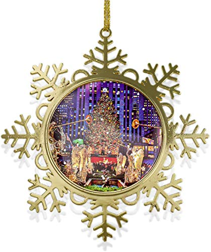 ArtPhotoWebStudio LLC Rockefeller Center Christmas Tree Snowflake Metal Ornament 4 inch w Gold Gift Box. Christmas in New York Collection (Christmas In Nyc Decorations)