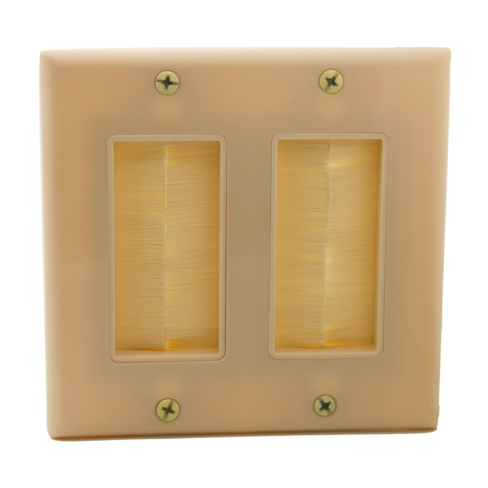 , Ivory Ivory YinXiong 2 Gong Brush Wall Plate 1 Pack 2 Gang Dual Gang Face Plate With Brush Bristles