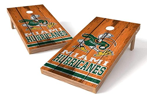 Miami Hurricanes Set (PROLINE NCAA College 2' x 4' Miami Hurricanes Cornhole Board Set - Vintage)