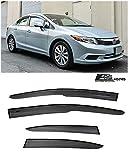 for 2012-2015 Honda Civic 4Dr Sedan | EOS Visors JDM Mugen ll Style Tape-On Smoke Tinted Side Window Vents Rain Guard Deflectors