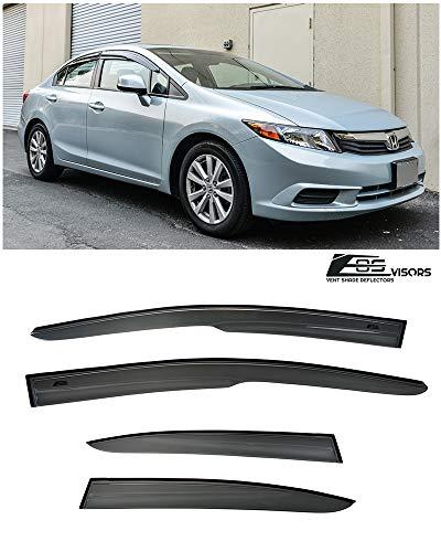 for 2012-2015 Honda Civic 4Dr Sedan | EOS Visors JDM Mugen ll Style Tape-On Smoke Tinted Side Window Vents Rain Guard Deflectors ()