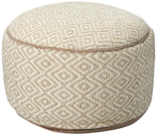Klear Vu Diamond Pattern Wool Round Ottoman Pouf, 20