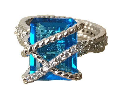 Yurman David Diamond Ring - Gempara 14K White Gold Plated Cable Wrap Blue Topaz Ring with Simulated Diamonds Ring Size 7 (7)