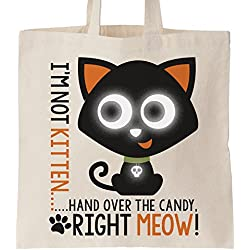 REFLECTIVE trick or treat tote bag - I'm not kitten meow cat Halloween Bag