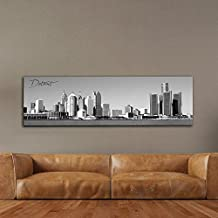 "Black & White Panoramic Cities 14""X48"" Canvas Detroit City 14""x 48"" Wall Decoration Photography Image Printed on Canvas Stretched & Framed Ready to Hang"