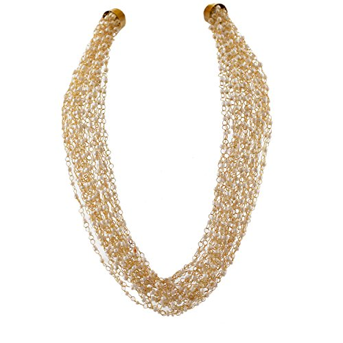 Zephyrr Hand Made Golden White Pearl Multi Strand Necklace For Wome
