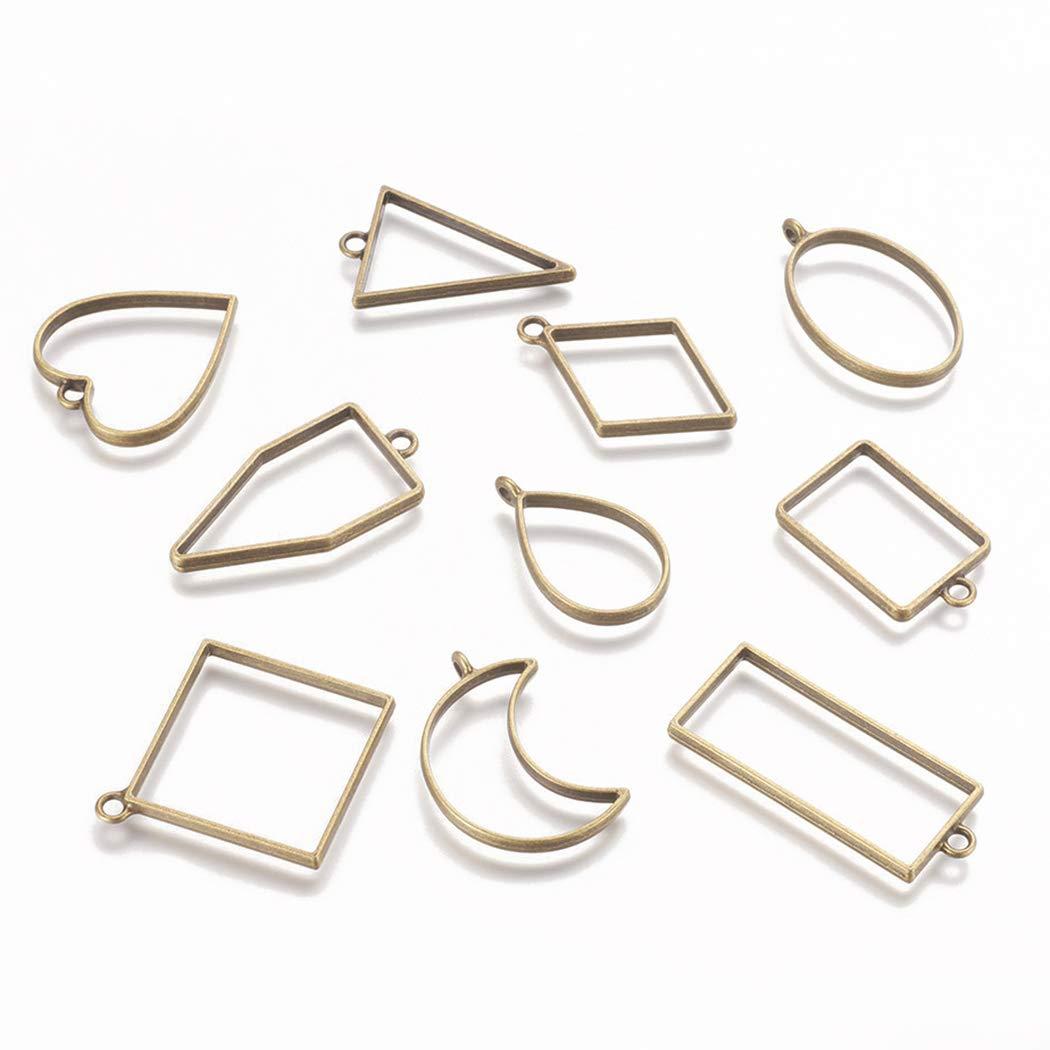 Outgeek 15PCS Acrylic Bezel Charms Pendant Open Back Bezel Pendants Hollow Mold Pendants Assorted Geometric Hollow Frame Pendant DIY Crafts for Resin Earrings Necklace Bracelet Frame Pendant