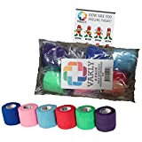 Vakly Kit - 6 Pack Of 2 Inches X 5 Yards Self Adherent Cohesive Rainbow Bandages (6)