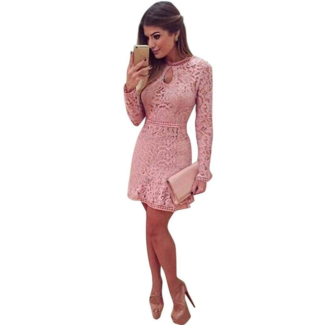 Zlolia Fashion Women Sexy Pink Hollow Lace Long Sleeve Slim Dress Party Evening Dress
