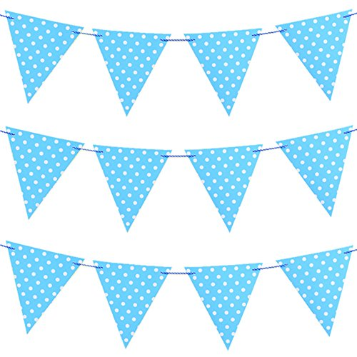 Joewyle Happy Birthday Party Supplies Banner for Baby Boys Birthday Party Decoration, Polka Dot Print Pennant Flag Banner (Happy Halloween Birthday Wishes)