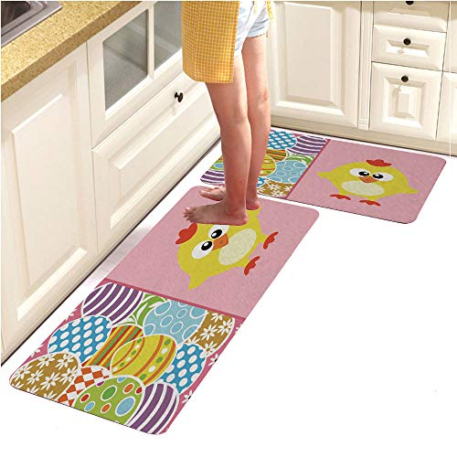 Microfiber Kitchen Rug Runner Set 2 Piece Non Slip Absorbent Mats Runner Set,Easter Background with Eggs and Funny Chicken Pink (15