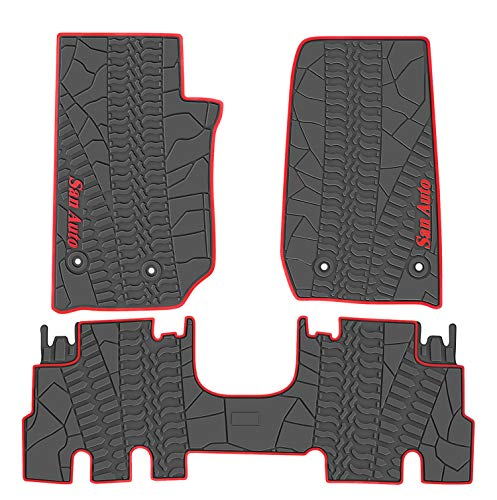 San Auto Car Floor Mat for Jeep Wrangler 4 Door 2014-2015-2016-2017,Full Set 4 Pieces Custom Fit Black/Red,Rubber Auto Floor Liner Mat All Weather Heavy Duty & Odorless ()