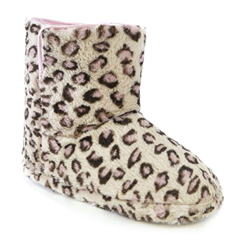 Universal Textiles Womens/Ladies Leopard Print Furry Boot Slippers Pink Leopard iThlHqCuID