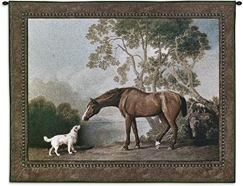 Bay Horse and White Dog by George Stubbs | Woven Tapestry Wall Art Hanging | Rich Earth Equestrian Scene | 100% Cotton USA Size 53x41