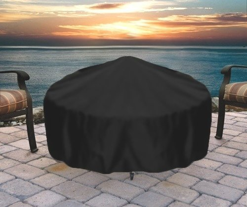 Sunnydaze Round Fire Pit Cover, Outdoor Heavy Duty, Waterproof and Weather Resistant, 36 Inch, Black (Bbq Fire Bowl)