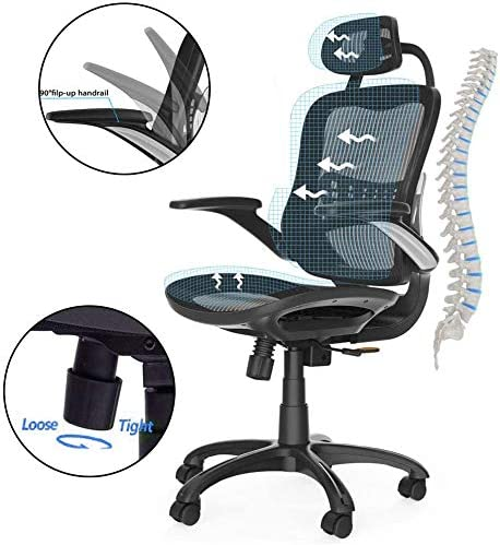 Amazon Com Komene Ergonomic Office Chair High Adjustable Back Mesh Desk Chairs Gaming Chair Lumbar Support Modern Executive With Rolling Swivel Chair For Back Pain Black Kitchen Dining