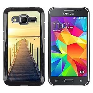 Be Good Phone Accessory // Dura Cáscara cubierta Protectora Caso Carcasa Funda de Protección para Samsung Galaxy Core Prime SM-G360 // Jetty Dock Beach Sunset Lake