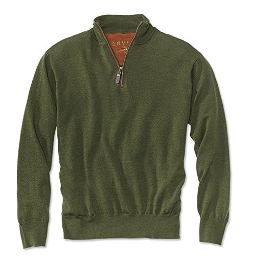 Orvis Merino Wool Zipneck Sweater/Merino Wool Zip-Neck Sweater (Olive, Large)