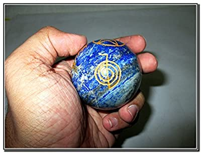 Awesome Lapis Lazuli Crystal Ball Sphere Genuine Original Authentic Usui Engraved 45 mm - 50 mm Gemstone Unique Rare Metaphysical Relaxation Massage Healing Spiritual Love Bonding Spa Wellness Reiki Dr. Mika Usui India Japan Asia Best Seller Quality Posit