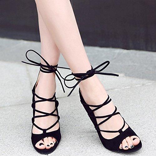 Hauts TAOFFEN Toe Occidental Femmes Chaussures Talons Noir Peep Sandales Lacets qgApw