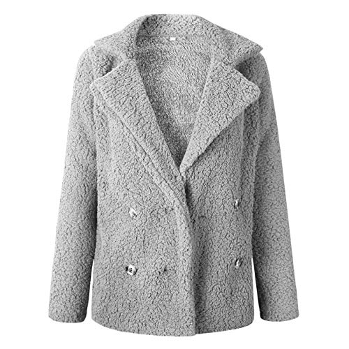 Daiweidress chiaro Fluffy Giacca in Donna grigio sintetica Peluche Coat pelliccia Ugw6qRfU
