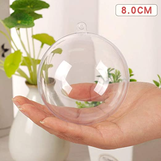 5pcs Clear Plastic Christmas Balls Bauble Sphere Fillable Hanging Ornament Decor