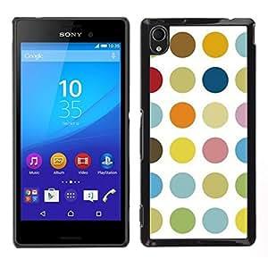EJOY---Cubierta de la caja de protección para la piel dura ** Sony Xperia M4 Aqua ** --Modelo de punto en colores pastel Color Blanco