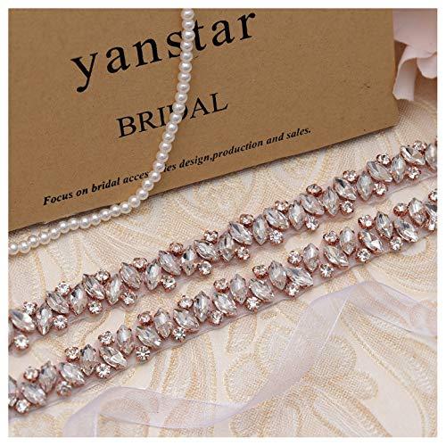 Yanstar Handmade Crystal Beads Rhinestone Bridal Wedding Belt Sash With White Organza For Bridal Wedding Party Gowns Dress