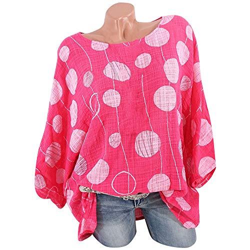 Lelili Women Plus Size Shirt Fashion Polka Dot Printed Long Sleeve Round Neck Loose Tunic Tops Casual Blouse Shirt Hot -