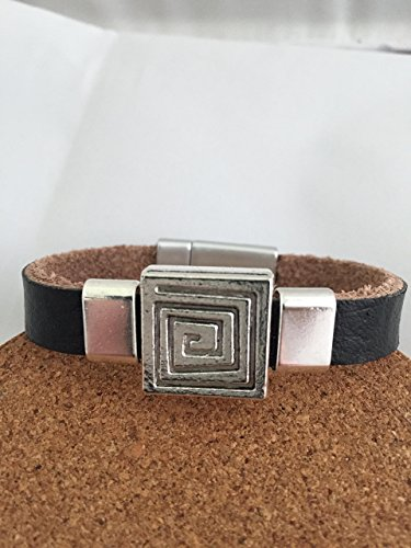 Square Nickel Bracelets (Black Leather Bracelet, Genuine Cow Leather Bracelet, Brushed Silvertone Magnetic Clasp, Square Geometric pattern Antique Silver slider, 2-10mm Antique Silver sliders, Trendy bracelet, Handmade)