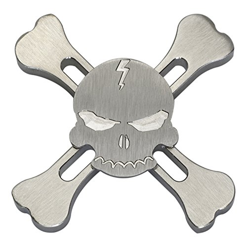 ILoveFidget Hand Spinner EDC toy, Skull Spinner, Brass, R188 Bearing High Speed, 2 - 5 minutes spins, relieves stress, boredom, autism, ADHD, anxiety, improve focus and attention (Stainless Steel)