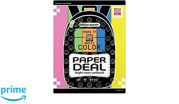 Amazon com : Office Depot Bright Neon Card Stock Cardstock
